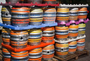 Empty beer casks